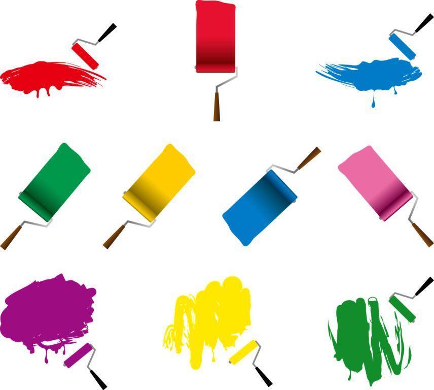 rodillos de colores de pintor